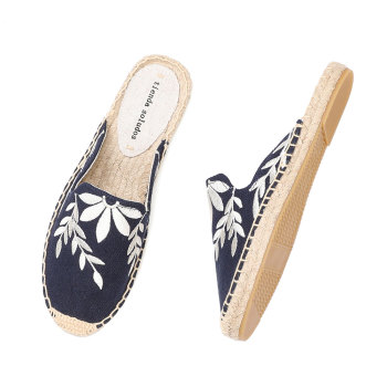 2019 Top Direct Selling Hemp Summer Rubber Print Terlik Mules Slippers Tienda Soludos Espadrilles Slippers For Flat Shoes 5