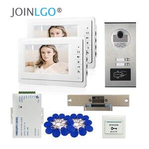 Image 1 - Видеодомофон с ЖК экраном 7 дюймов, система связи с домофоном для квартиры, 2 белых монитора, камера доступа RFID для 2 домашних хозяйств