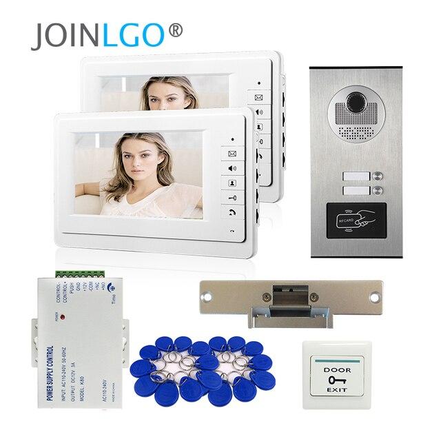 Видеодомофон с ЖК экраном 7 дюймов, система связи с домофоном для квартиры, 2 белых монитора, камера доступа RFID для 2 домашних хозяйств