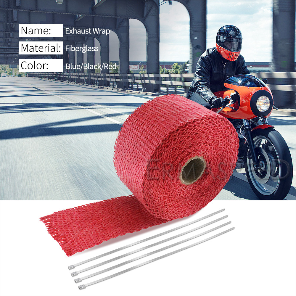 "Yamaha 2/"" x 50/' Motorcycle Protection Header Exhaust Heat Wrap Black"
