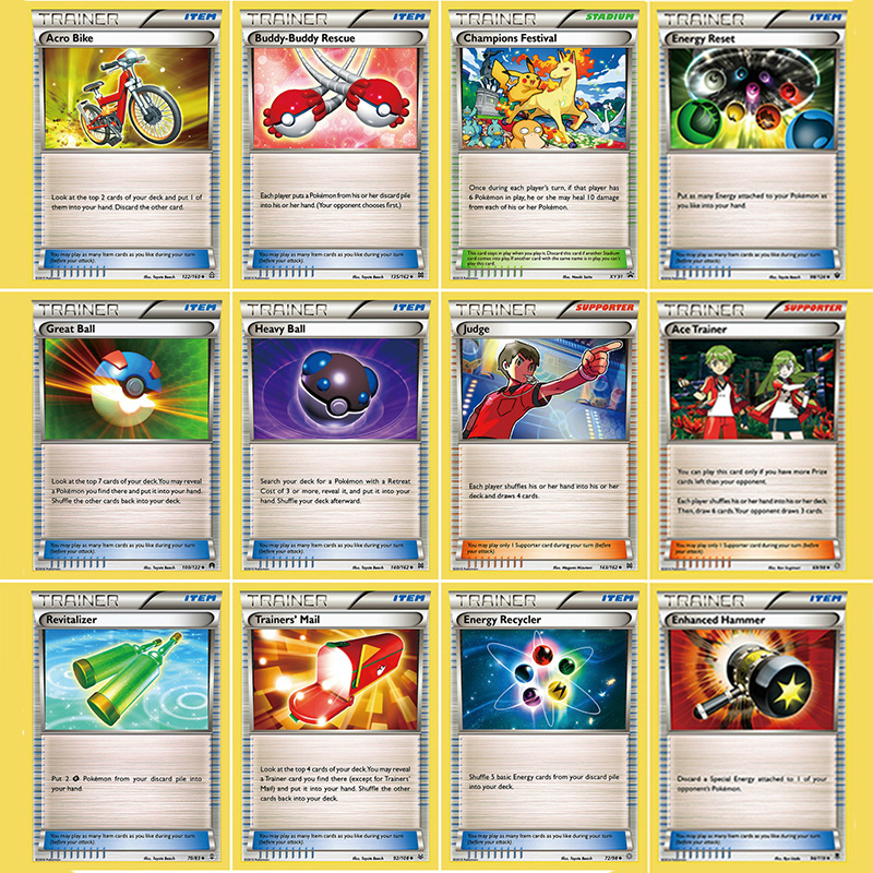 50Pcs/set Pokemon PTCG Battle N Cards Energy Trainer Prop Cards No Repeat Game Collection Card Gifts For Children Kids Toys
