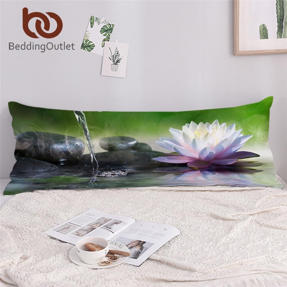 BeddingOutlet 3D Printed Long Pillowcase Zen Garden Pillow Cover Flower Waterlily Lotus Body Pillow Case Massage Stone Poszewka 1