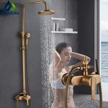 גשמים אמבטיה ערכת מקלחת פליז עתיק מקלחת מערבלי עם Handshower ידית אחת קיר רכוב מקלחת ברז ברז