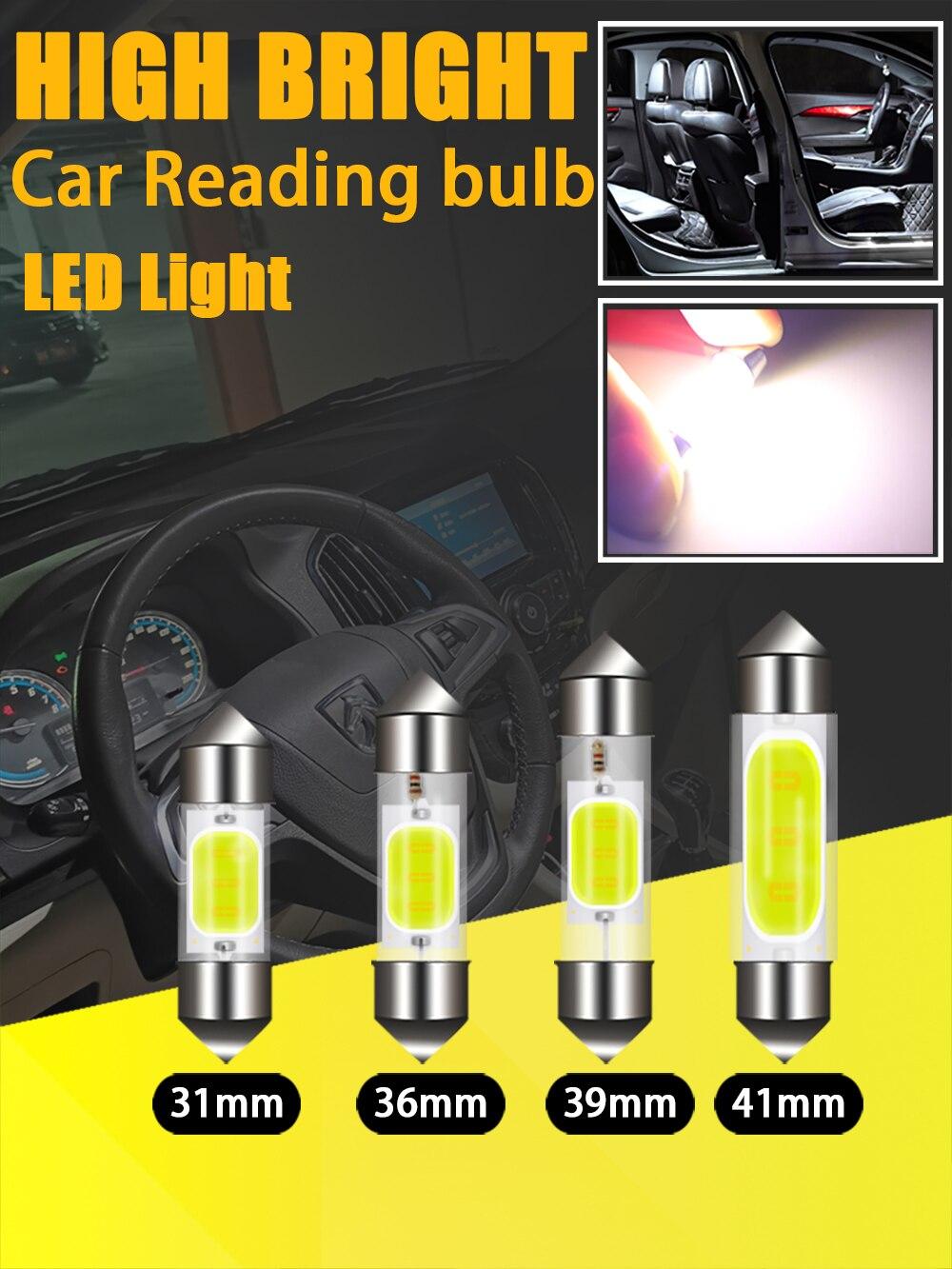 1pc c5w c10w led coblamps festão 31mm 36mm 39mm 41mm 12v lâmpadas brancas para carros placa de licença interior e luz de leitura
