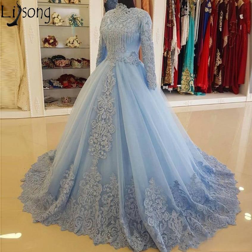 Light Blue High Neck Long Sleeve Evening Dress 2019 Vintage Lace Applique Arabic Muslim Women Prom Dresses Formal Party Gowns