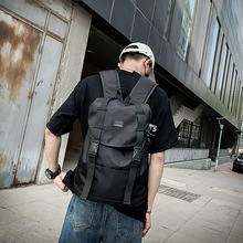 Mens Backpack European Hip Hop Black Bags Back to School College Students Casual Student Female