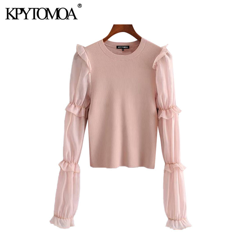 KPYTOMOA Women 2020 Chic Fashion Organza Patchwork Knitted Sweater Vintage See Through Sleeve Ruffle Stretch Pullovers Chic Tops