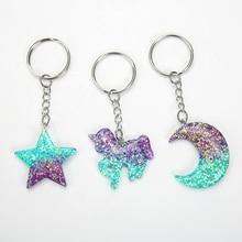 1PC Cute Multicolor flatback resin Gradient  Star Moon Unicorn keychain pendant keyring for woman jewelry