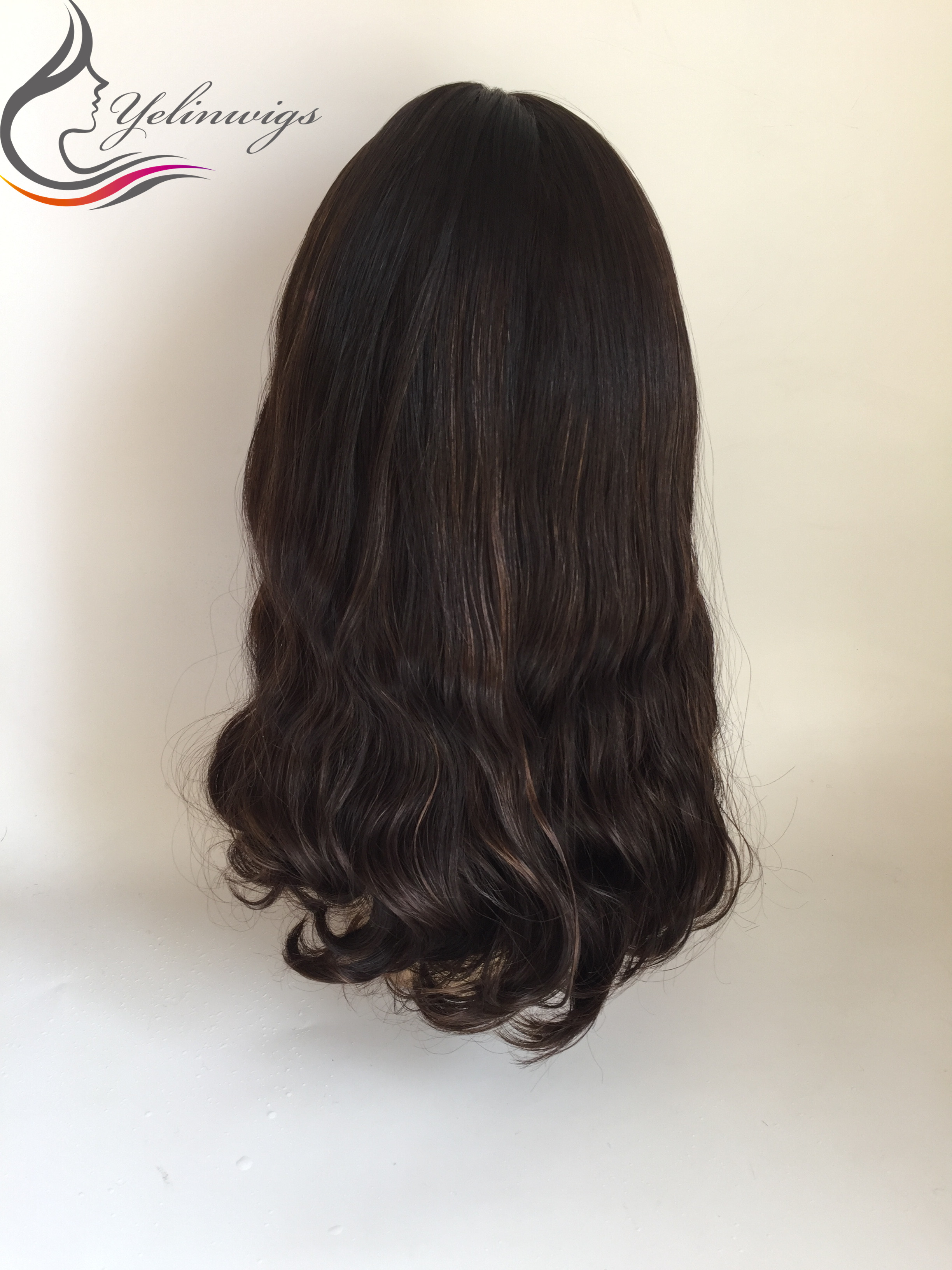 High-end European Virgin Wavy Hair Jewish Wig Kosher Wig 4/6 Highlight Color European Hair Lace Front Wig For Jewish Women