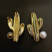 Autumn And Winter New Style Cactus Pearl Brooch Top Grade Plant Sweater Cardigan Brooch Corsage Accessories(China)