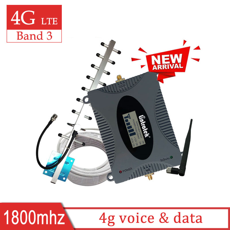 Lintratek 4g LTE DCS 1800mhz Cellular Amplifier 1800 Repeater 4g Signal Booster Mobile Network DCS Yagi Antenna 10m Cable Set S8