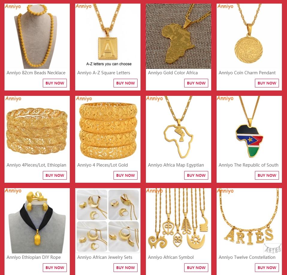 Anniyo Ethiopia Coins Jewelry Arab Pendant Necklaces Women Ethiopian Wedding Eritrea African Gold Color Coin Jewellery #014116
