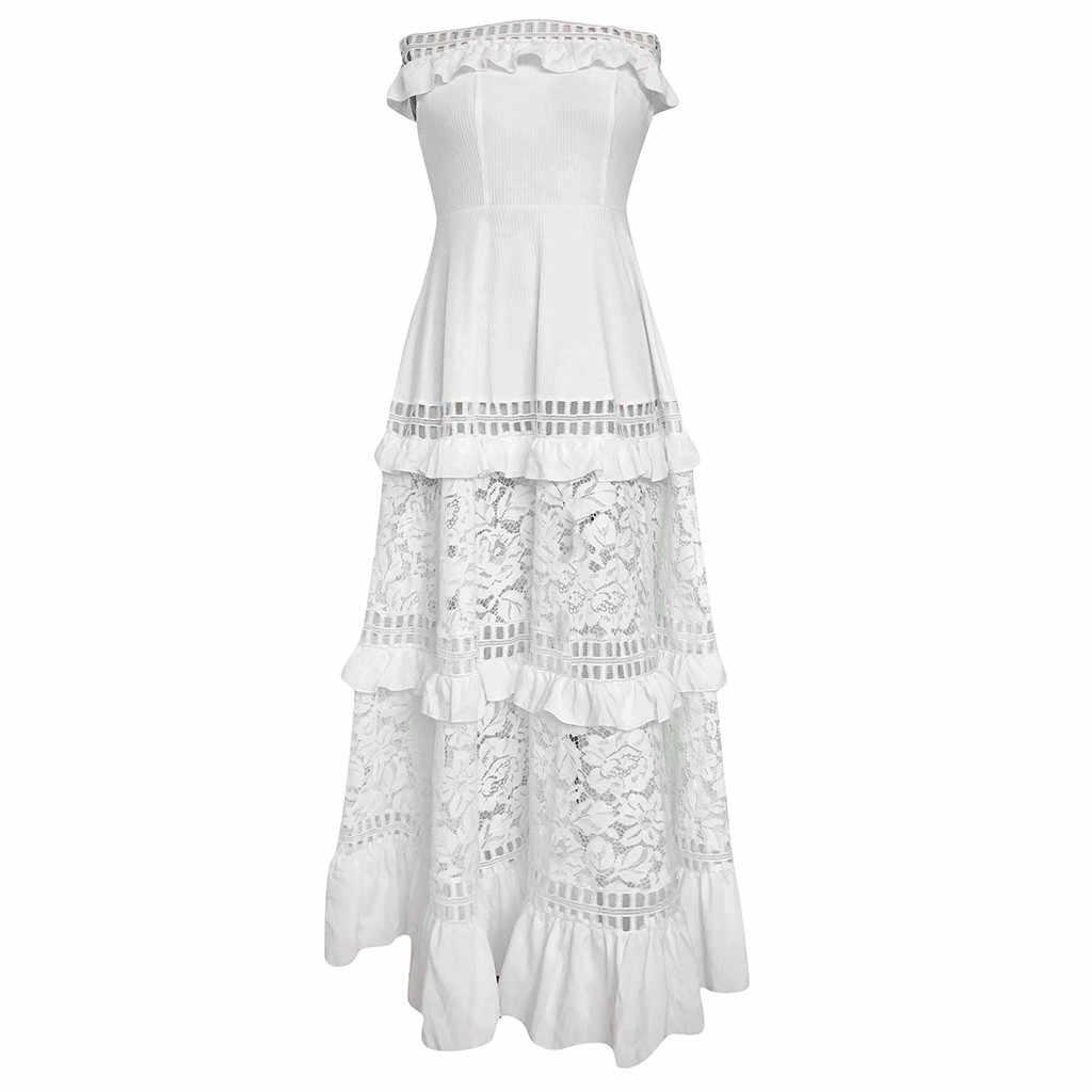 JAYCOSIN 2019 Mùa Hè Mới Nữ Ngày Lễ Trắng, Phối Ren Sundress Chắc Chắn Chém-Cổ Đầm Maxi Form Váy Đầm Vestido z0730