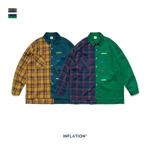 Image 5 - INFLATION BRAND Oversize Plaid Shirt Men 2019 FW Streetwear Patchwork Embroidery Men Shirt Hip Hop Cotton Mens Shirt Tops 92102W