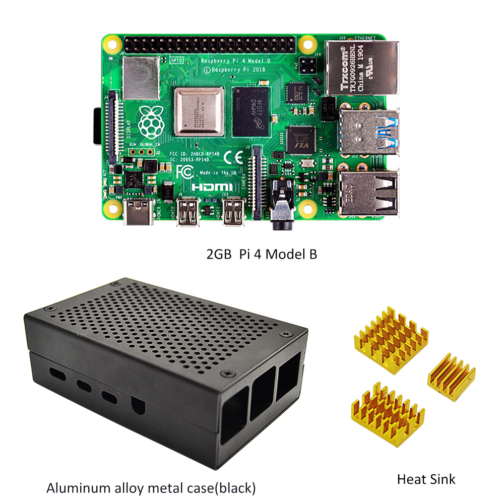 Raspberry Pi 4 Model B 2GB Kit - 2GB RAM With Pi 4 B Aluminum Alloy Case (Black Or Sliver) And The Heat Sink Cooling Kit
