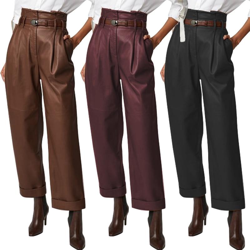 Women's Wide Leg Trousers ZANZEA 2020 Elegant Faux Leather Pants Casual Button Zip Long Pantalon Female Black Plus Size Turnip