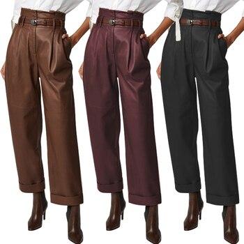 цена на Women's Wide Leg Trousers ZANZEA 2020 Elegant Faux Leather Pants Casual Button Zip Long Pantalon Female Black Plus Size Turnip