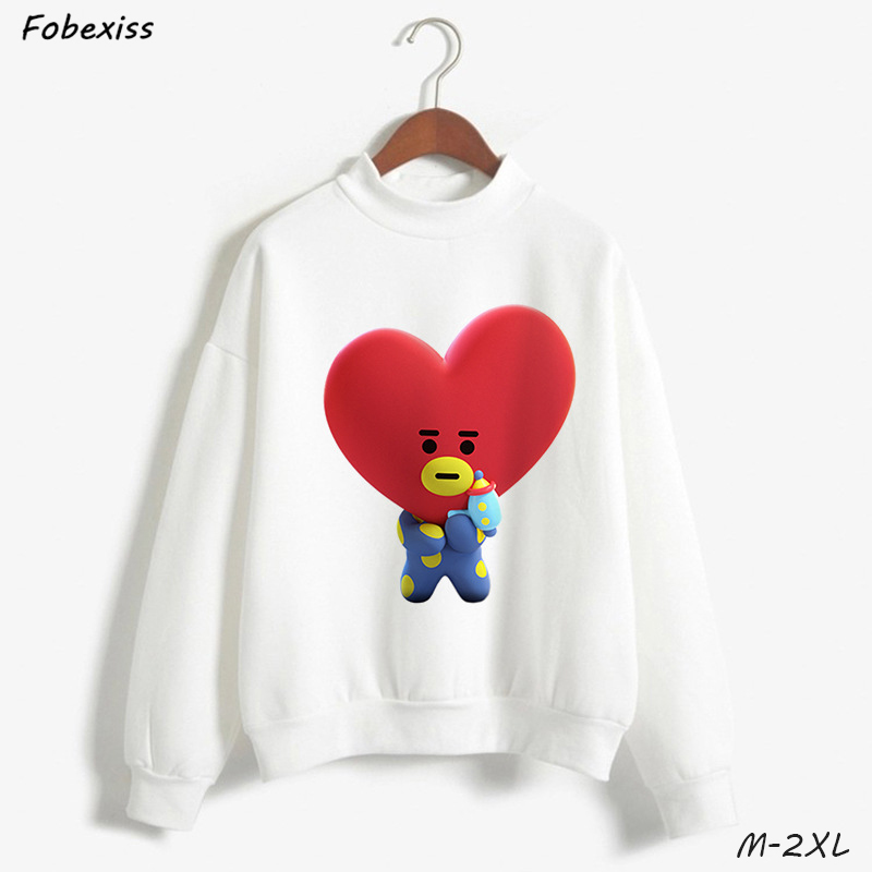 Kpop BT21 Hoodies Kawaii Cartoon White O Neck Sweatershirts Plus Size Thick Loose Pullovers Autumn Winter Fashion Women Hoodies