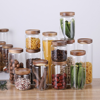 Bamboo Lid Glass Airtight Canister Storage Bottles Multipurpose Spices Storage Box Dustproof and Moisture Proof Jars for Spices 2