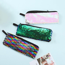 School Sequins Pencil Case for Girls Pencilcase Creative Stationery Laser Bag Glitter Mermaid Box Office Supplies