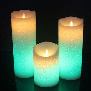 Изменение цвета градиентные светодиодные свечи пульт дистанционного управления электронные беспламенные дышащие свечи ночные светильник...