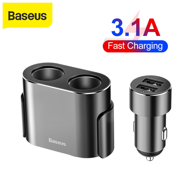 <font><b>Baseus</b></font> Dual USB <font><b>Car</b></font> <font><b>Charger</b></font> Cigarette Lighter 3.1A Quick Charge for iPhone Xiaomi Samsung 2 in 1 Universal Mobile Phone <font><b>Charger</b></font> image