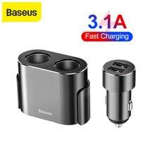 Baseus المزدوج USB شاحن سيارة 3.1A شحن سريع ولاعة السجائر 2 في 1 العالمي موبايل مهايئ شاحن الهاتف Usb شاحن سيارة