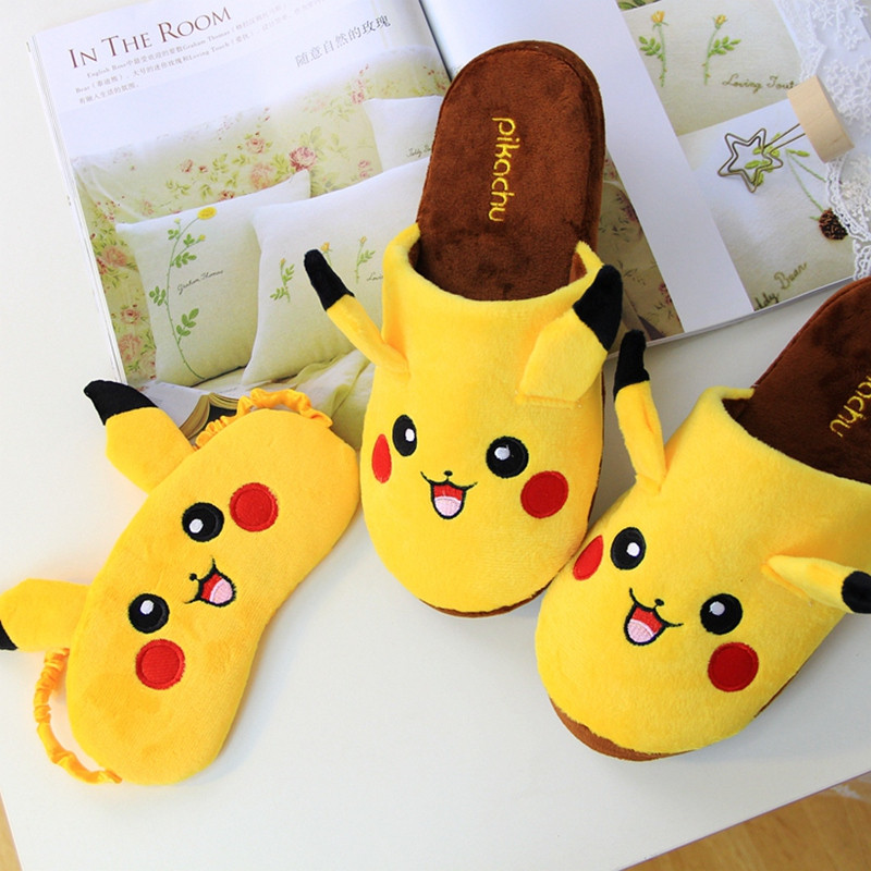 New Lovely Pikachu Alpaca Pig Plush Indoor Warm Winter Adult Shoes Cartoon Cute Anime Eye Masks For Kids Girls Christmas Gift