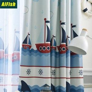 Aifish-cortinas mediterráneas de vela de dibujos animados, tela de tul Simple, ventana de pantalla, cortina de dormitorio para niños, W-ZH432-3