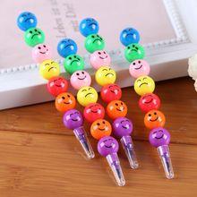 7 цветов мультфильм лицо принт карандаши милый круглый граффити ручка канцелярские товары подарки для детей воск мелок карандаш