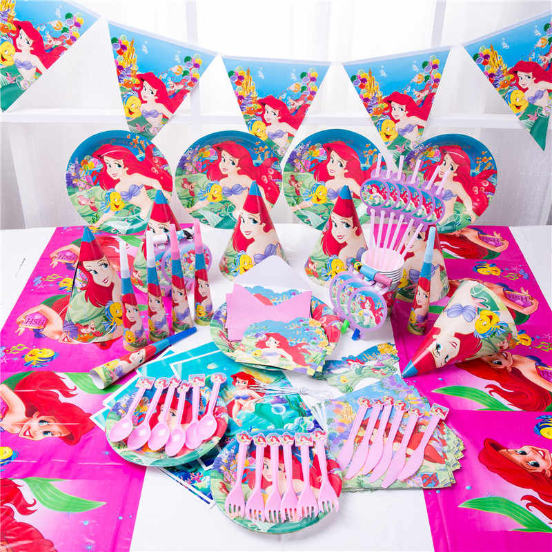 90pcs  Cute happy birthday Mermaid Ariel girls baby shower party decoration banner table cloth straws cup plates supplier