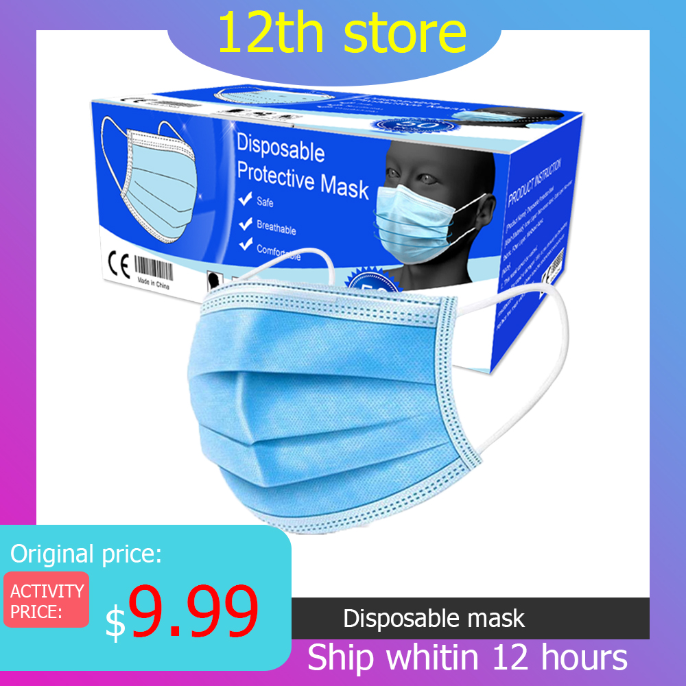 Disposable 3 Layers Protective Mask Mouth Anti Dust Mascherine Face Shield Protection Gas Masks Prevent Dust Mascaras