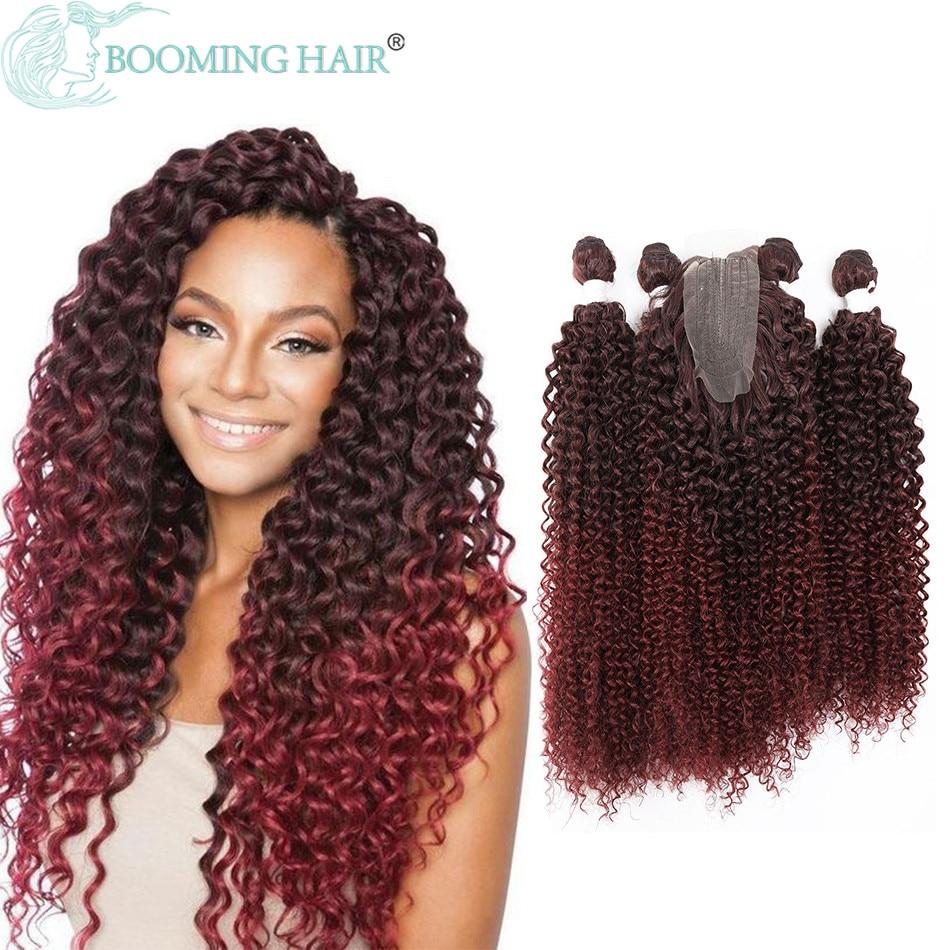 Verworrene Lockige Synthetische Haar Bundles Extensions 24 26 Zoll 4 Teile/los 200G Afro Lockige Haar Farben Für Frauen Haar extensions