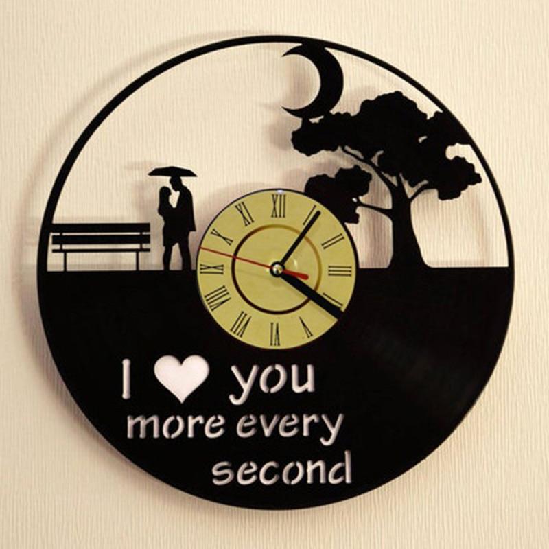 I Love You Romantic Love Vinyl Record Wall Clock Modern Design Wedding Anniversary Marriage Love Story Wall Clock