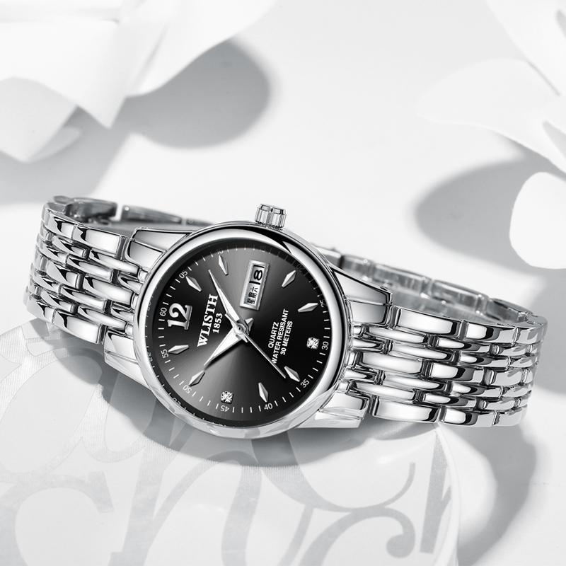 WLISTH Couple Watches Simple Casual Ladies Quartz  Wristwatch Stainless Steel Luminous Waterproof Trend Women Watch Reloj Muje