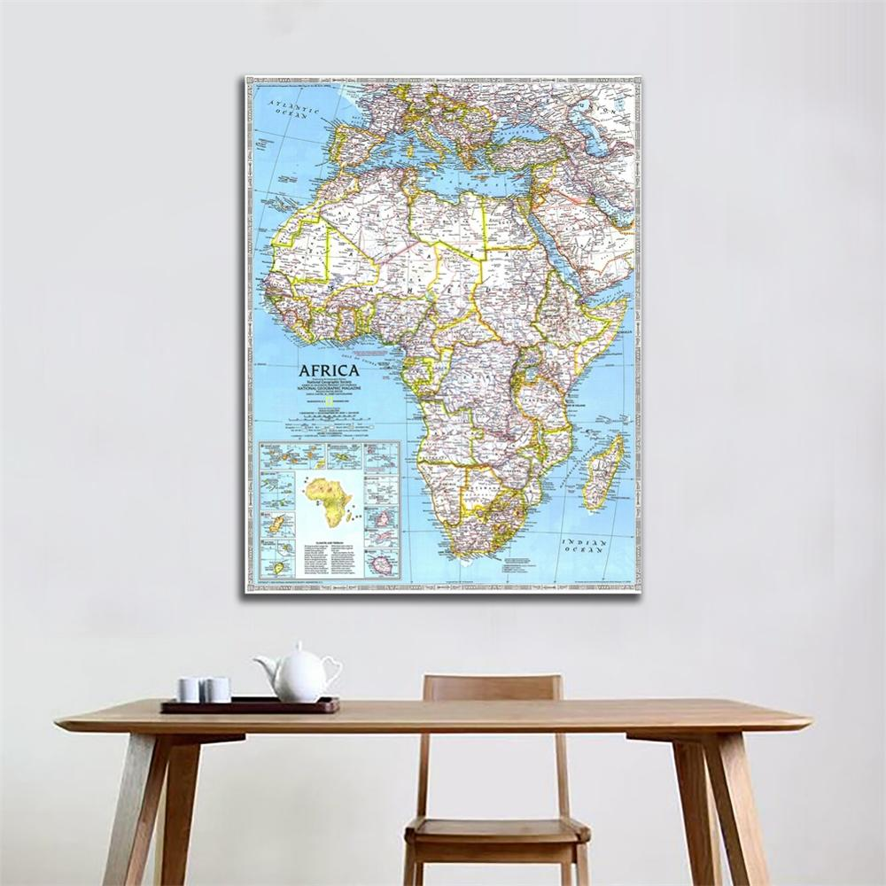 Standard A1 Size Fine Canvas Map Of Africa In 1990 Edition Waterproof Spray Painting Map For Living Room Wall Decor