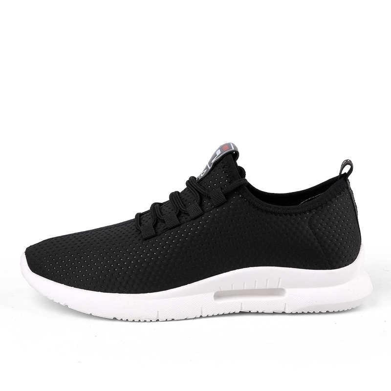 Yeni erkek rahat ayakkabılar siyah hafif nefes örgü erkek ayakkabı rahat dantel-up açık ayakkabı yürüyüş ayakkabısı boyutu 47