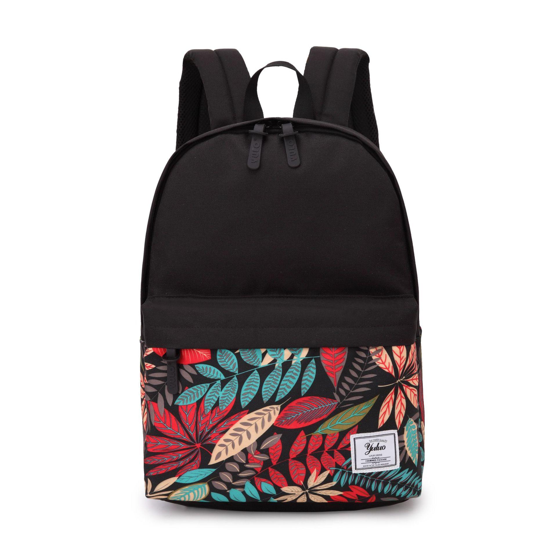 TTOU Women Fashion Printed Backpack Canvas School Backpack For Girls Knapsack Bookbag Trip Laptop Back Bag