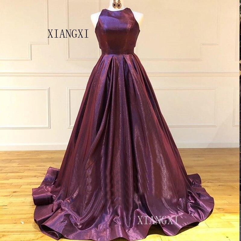 Purple Evening Dresses Long A-Line Jewel-Neck Sleeveless Floor Length Formal Gowns Party Dress Evening Dress Vestidos