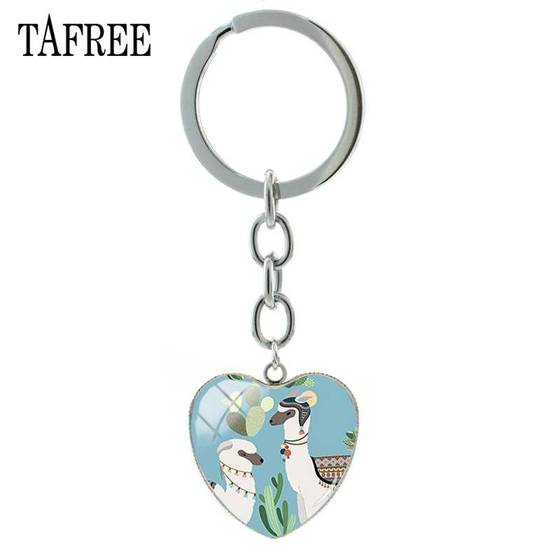 TAFREE Lovely Alpaca corazón llavero Animal dibujos animados llavero titular mujeres bolso encantos foto vidrio cabujón joyería hecha a mano YT60