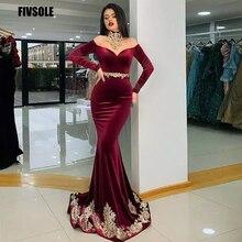 Fivsole Red Wine Moroccan Kaftan Evening Dress Mermaid Formal Dubai Formal Charming Gold Apploqies Celebrity Dresses Plus Size