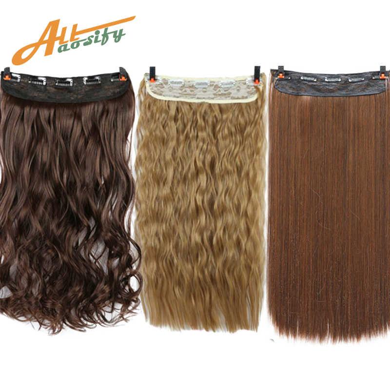 "Allaosify 24 ""3/4 cabeza larga recta mujeres Clip en extensiones de cabello negro marrón alta Tempreture sintético horquilla Clip ins"