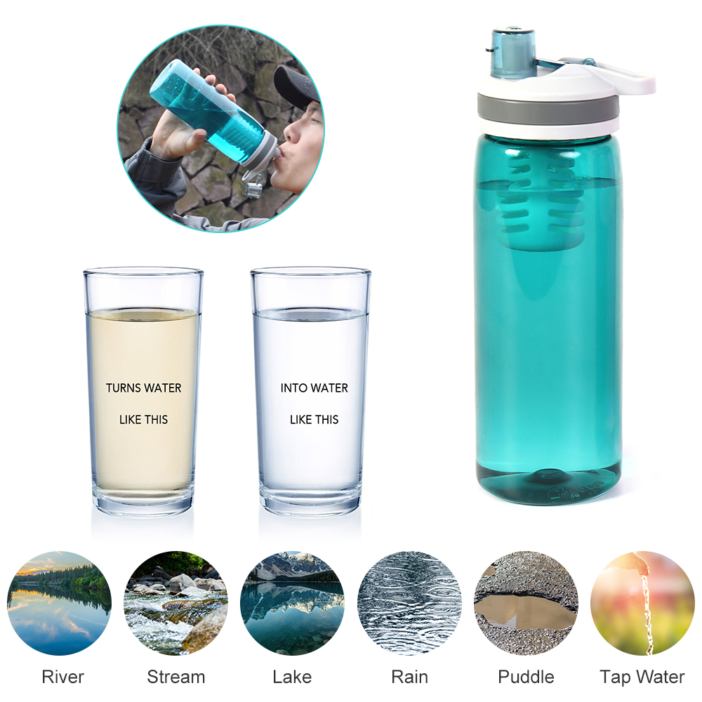 Water Bottle High Quality Water Bottle Replacement Filter Water Filtration Purifier Outdoor Bicycle Sports Drinking Water Bottle