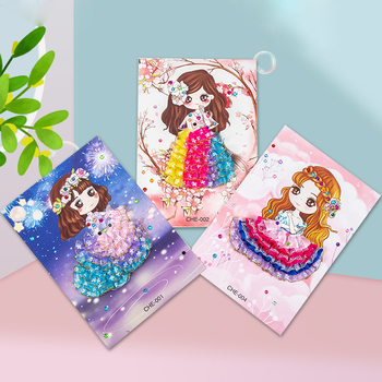 new 3PC crafts kids children's toys Princess Diamond Sticker Puzzle Material diy crafts kids toys for girls toys for children 40 cxzyking large 20pcs puzzle diy diamond sticker handmade crystal diamond sticker paste mosaic puzzle toys for kids children
