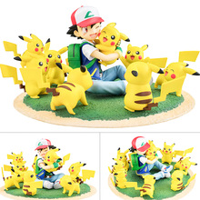 TAKARA TOMY Pokemon Dolls Pocket Monster Pikachu Kids Gifts Model Toys Ash Ketchum Doll 8cm