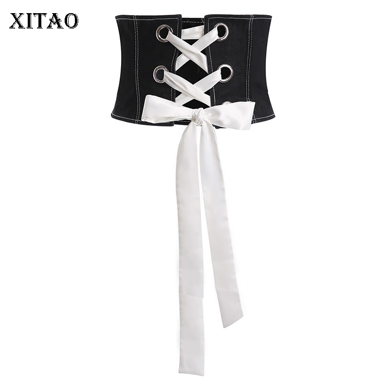 XITAO Women Fashion Black Denim Straps Girdle Female Creative Cropped Girdle Abdomen Wild Thin Decoration Cummerbunds XJ3692