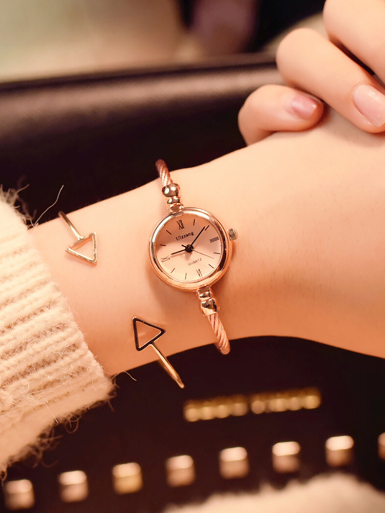 Dress Watch Bangle Quartz Bracelet Luxury Stainless-Steel Gold Retro Small Casual Women