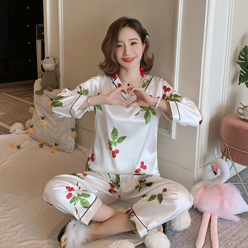 Korean-style Pajamas Women Long Sleeve Viscose Spring And Autumn Summer Cartoon Thin Homewear Set Model Silk Home Wear