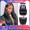 Ccollege Remy Human Hair Frontal With Bundles Extensions Brazilian Straight Natural Color Medium Brown 13x4 Swiss Lace