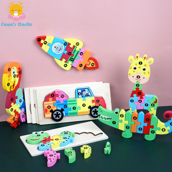 цена на 3d Puzzle Baby Wooden Toy Baby Puzzle Learning Educational Montessori Toys for Children Gifts